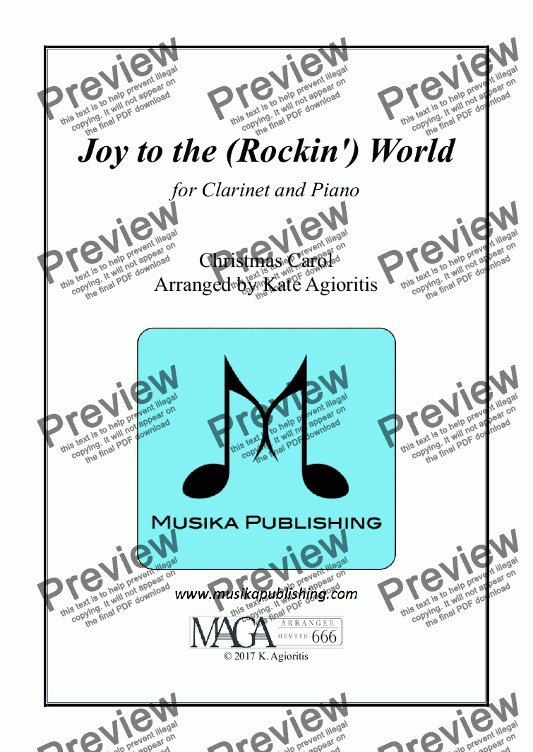 page one of Joy to the (Rockin') World - Clarinet and Piano