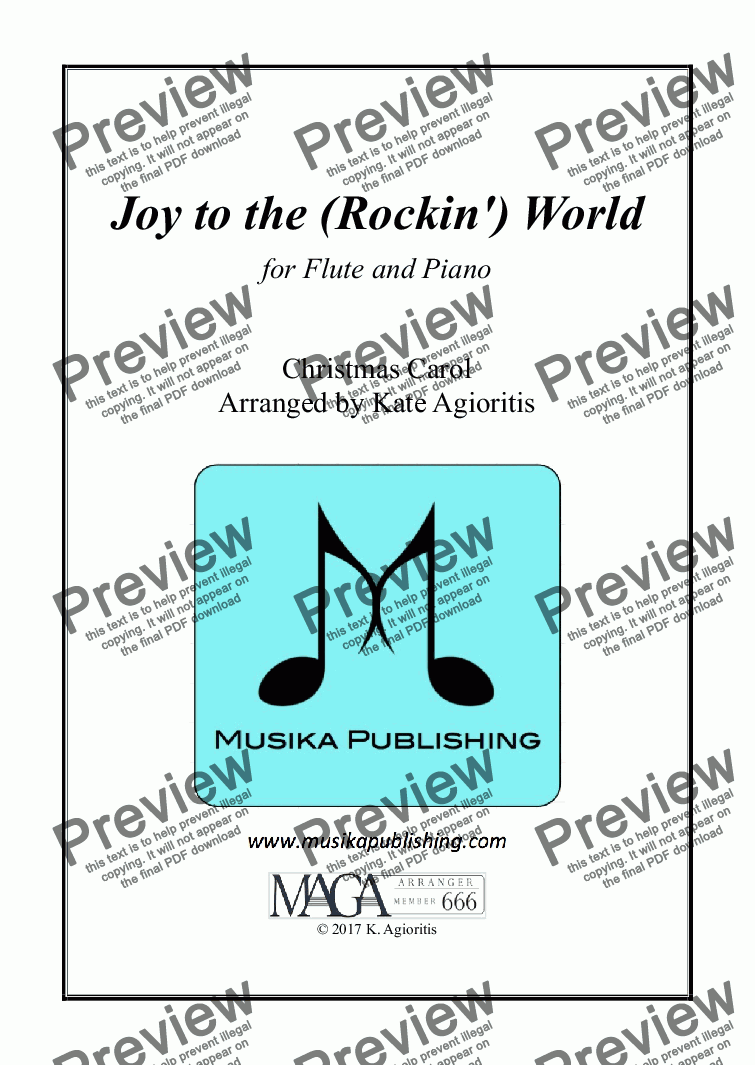 page one of Joy to the (Rockin') World - Flute and Piano