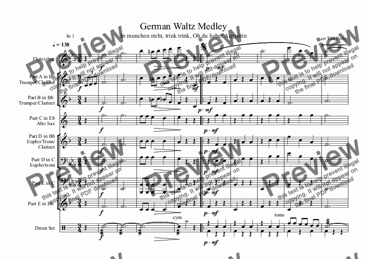 page one of German Waltz Medley