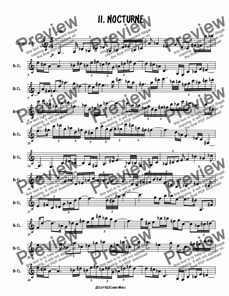 page one of 3 12-Tone Pieces Mvt. 2 Nocturne