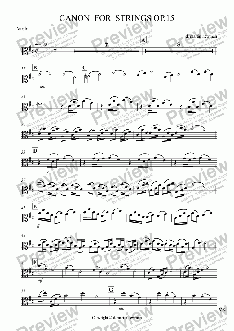 page one of CANON  FOR  STRINGS OP.15 - Viola