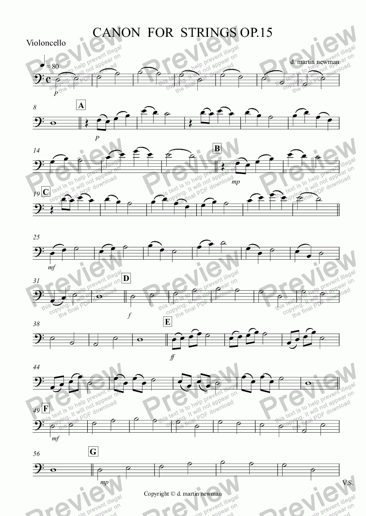 page one of CANON  FOR  STRINGS OP.15 - Violincello