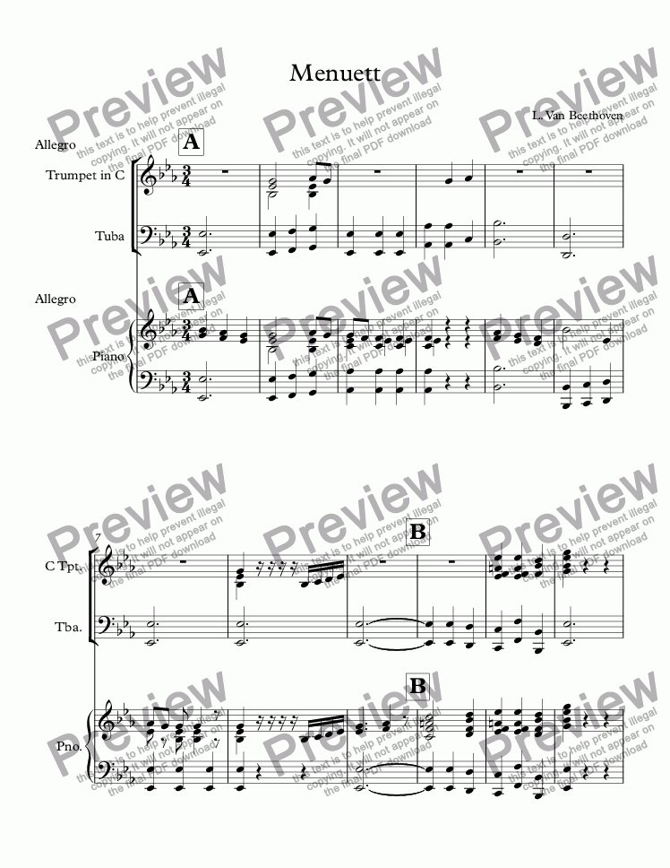 page one of Menuett Ludwig Van Beethoven - Score and parts