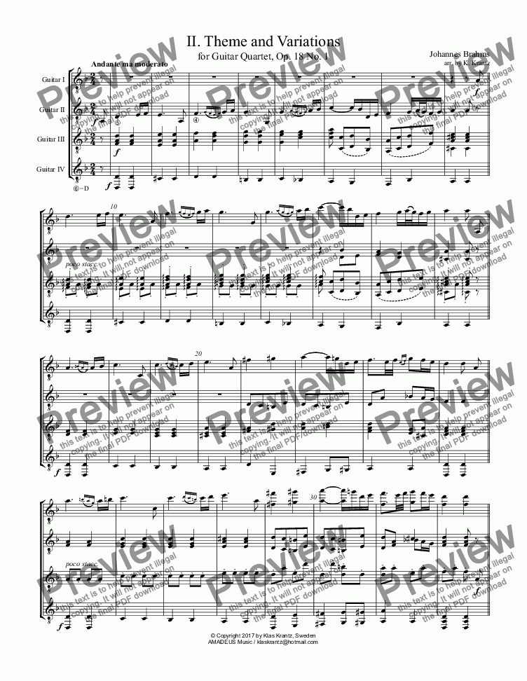 page one of Theme and Variations for guitar quartet