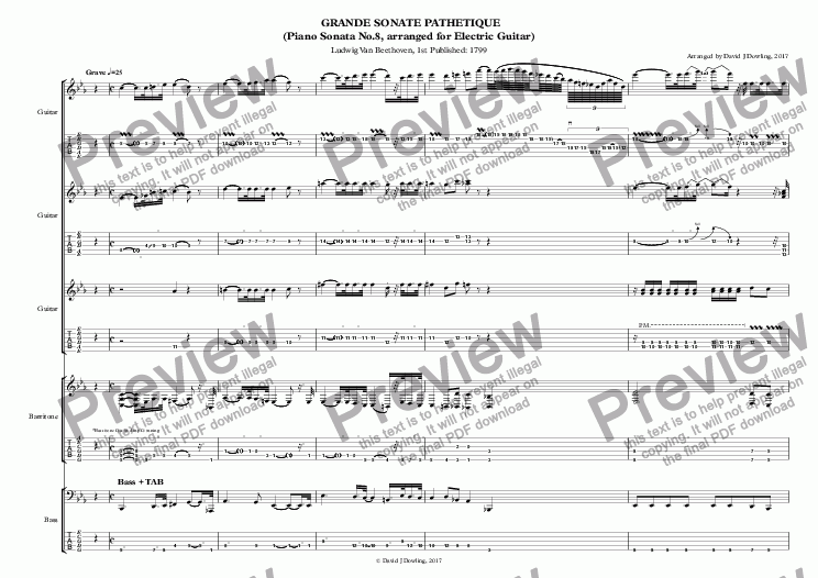 page one of Beethoven's Piano Sonata No.8 in C minor, arranged for Electric Guitar - Full Score