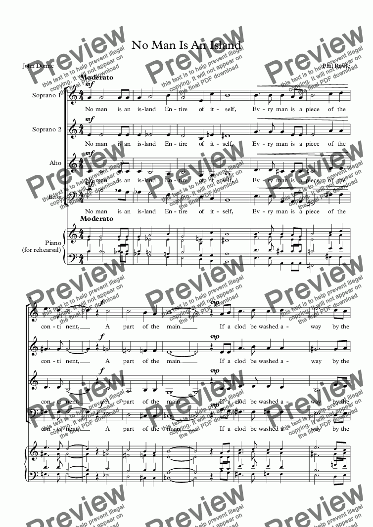 page one of No Man Is An Island - Choir (SSAB)