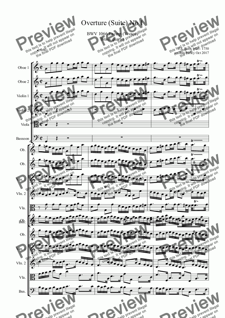 page one of Overture (Suite) No 1