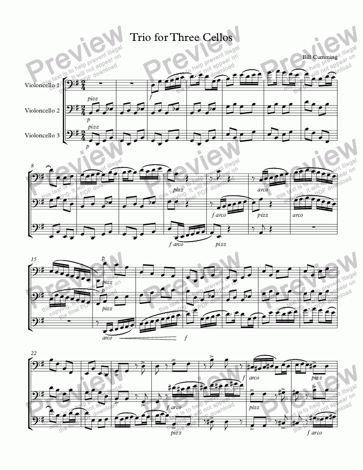 page one of Trio for Three Cellos