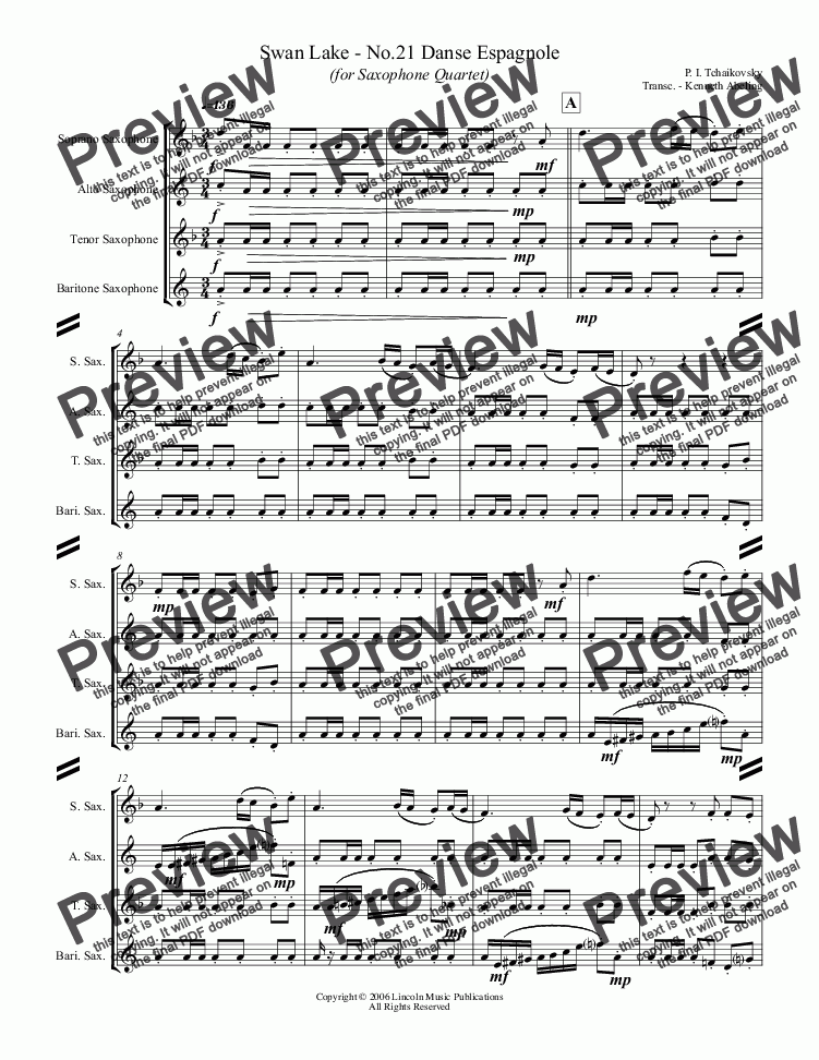 page one of Tchaikovsky – Danse Espagnole from Swan Lake (for Saxophone Quartet SATB)