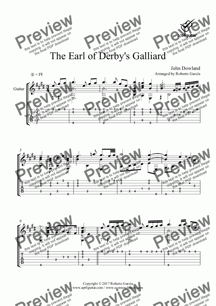 page one of The Earl of Derby's Galliard for solo guitar