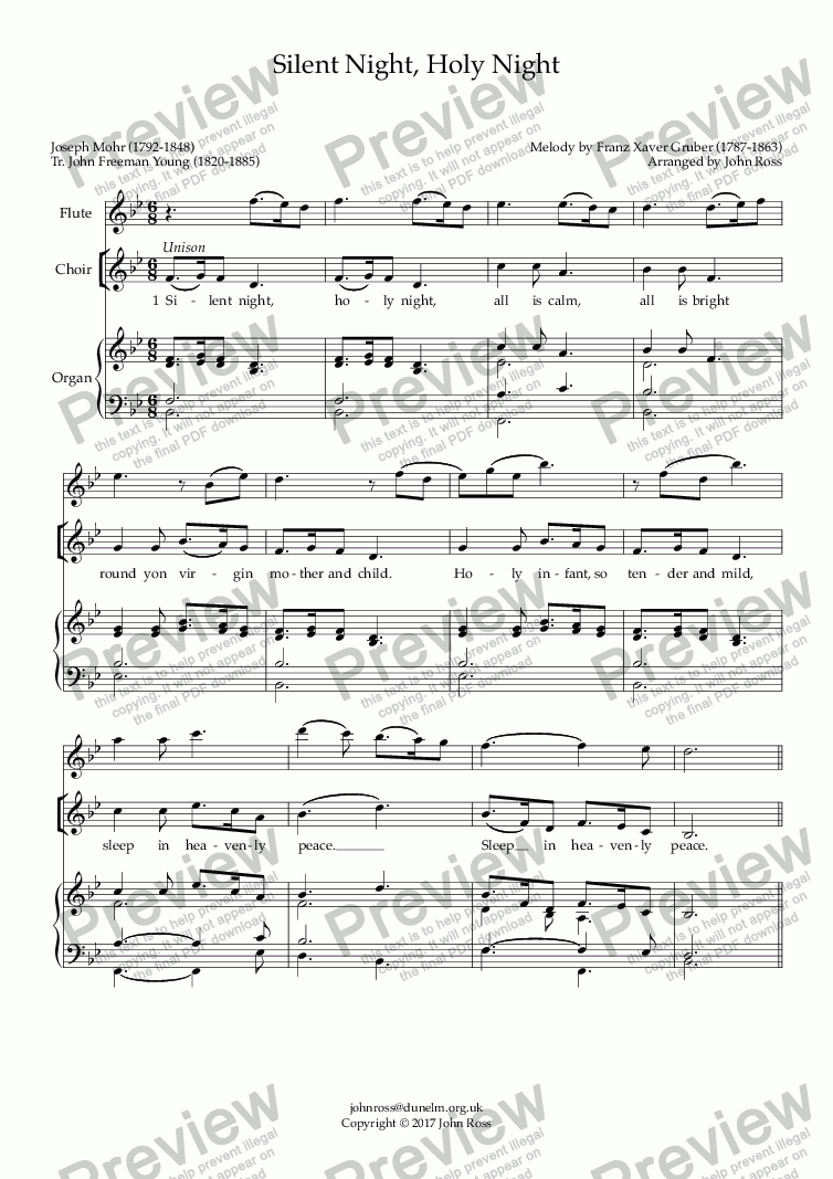 page one of Silent Night, Holy Night (with vocal & flute descants) (Words by Young)