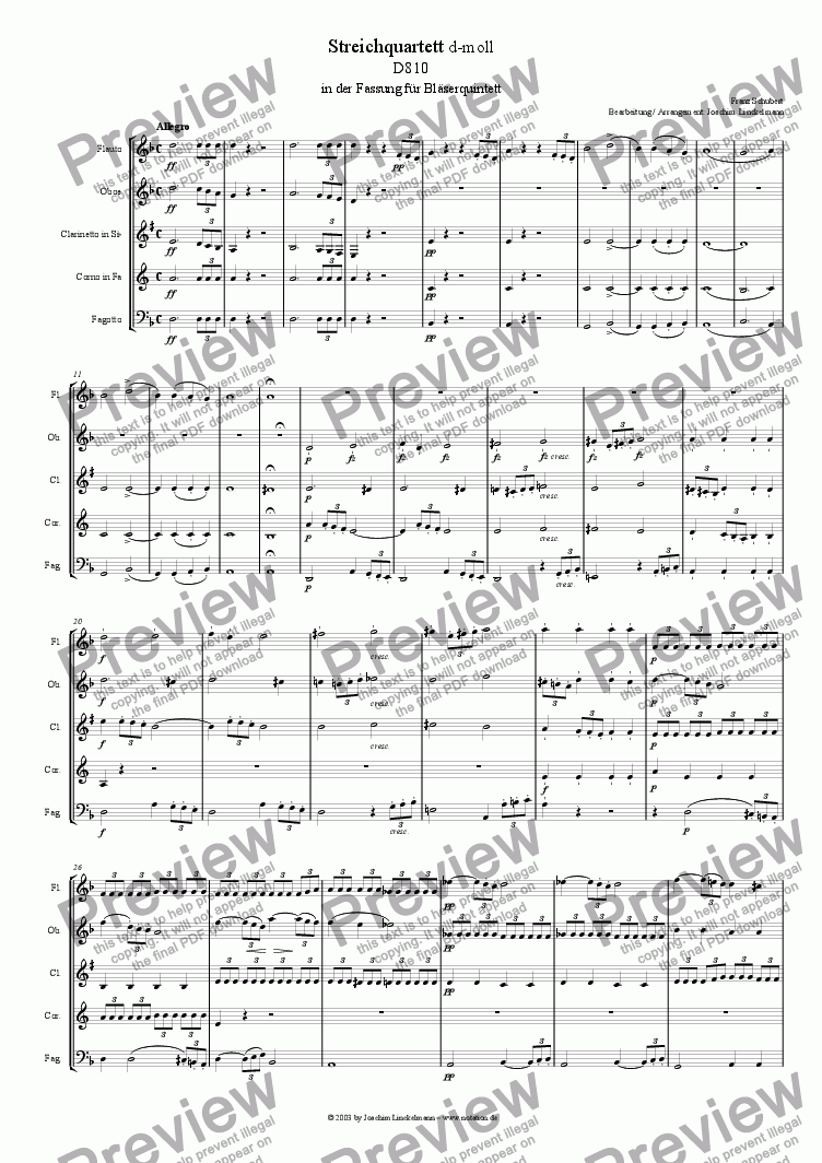 page one of String quartet D 810