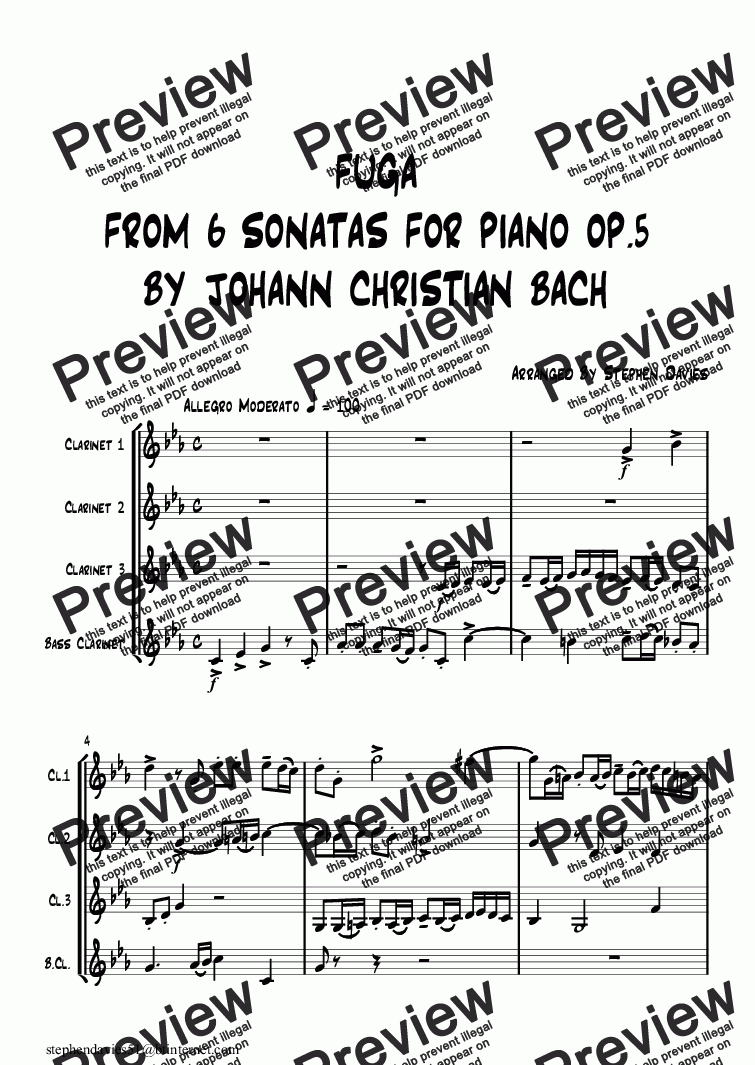 page one of Fuga from '6 Sonatas for Piano op.5' By Johann Christian Bach(Clarinet Quartet)