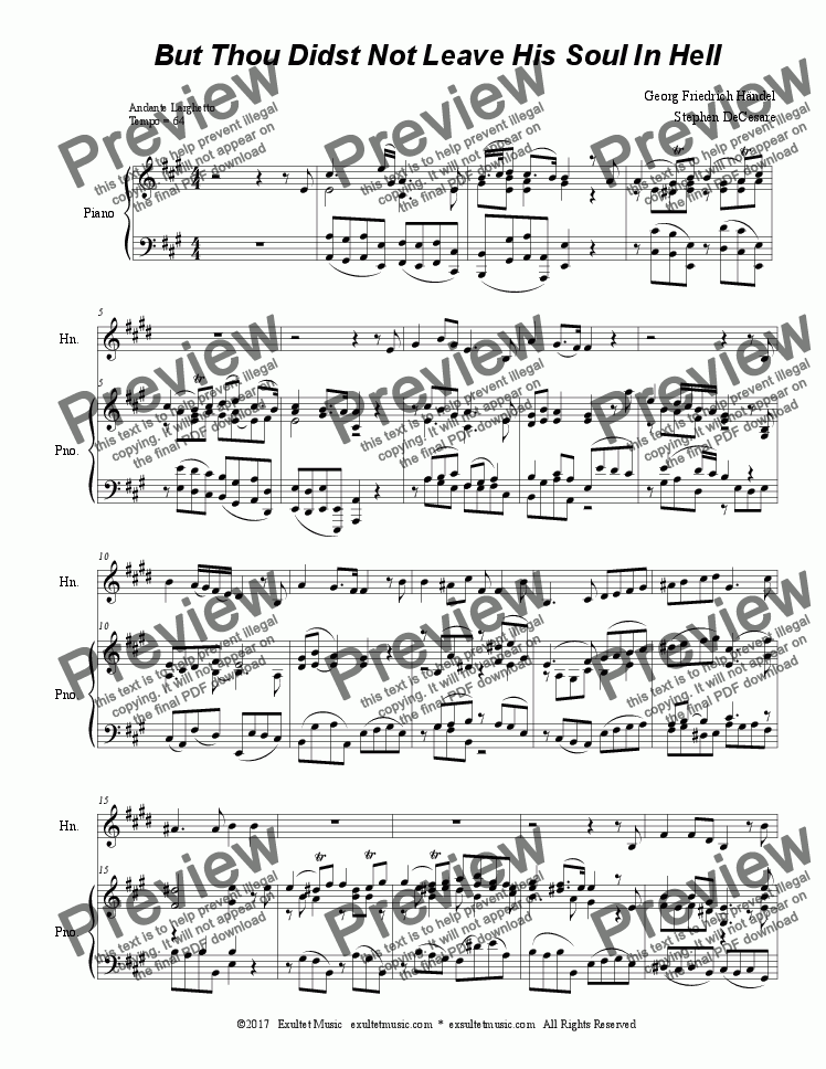 page one of But Thou Didst Not Leave His Soul In Hell (for French Horn & Piano)