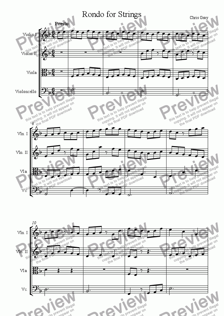 page one of Rondo for Strings