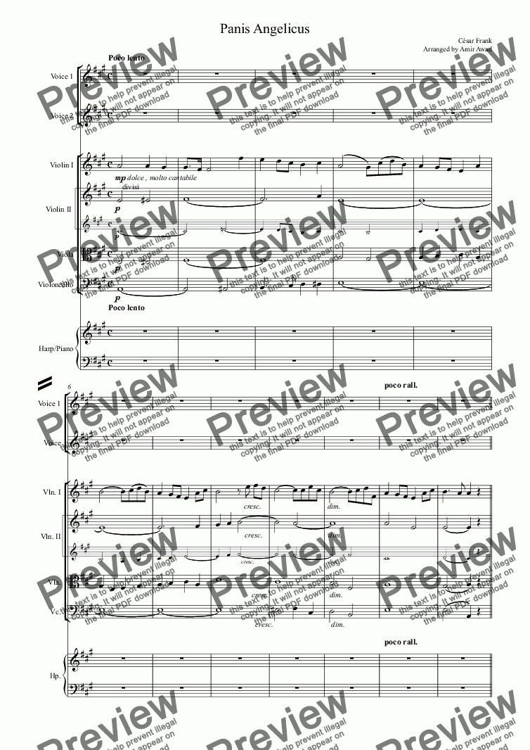 page one of Cesar Frank : Panis Angelicus for 2 voices or Voice and Unison Choir with string orchestra and piano or harp in A