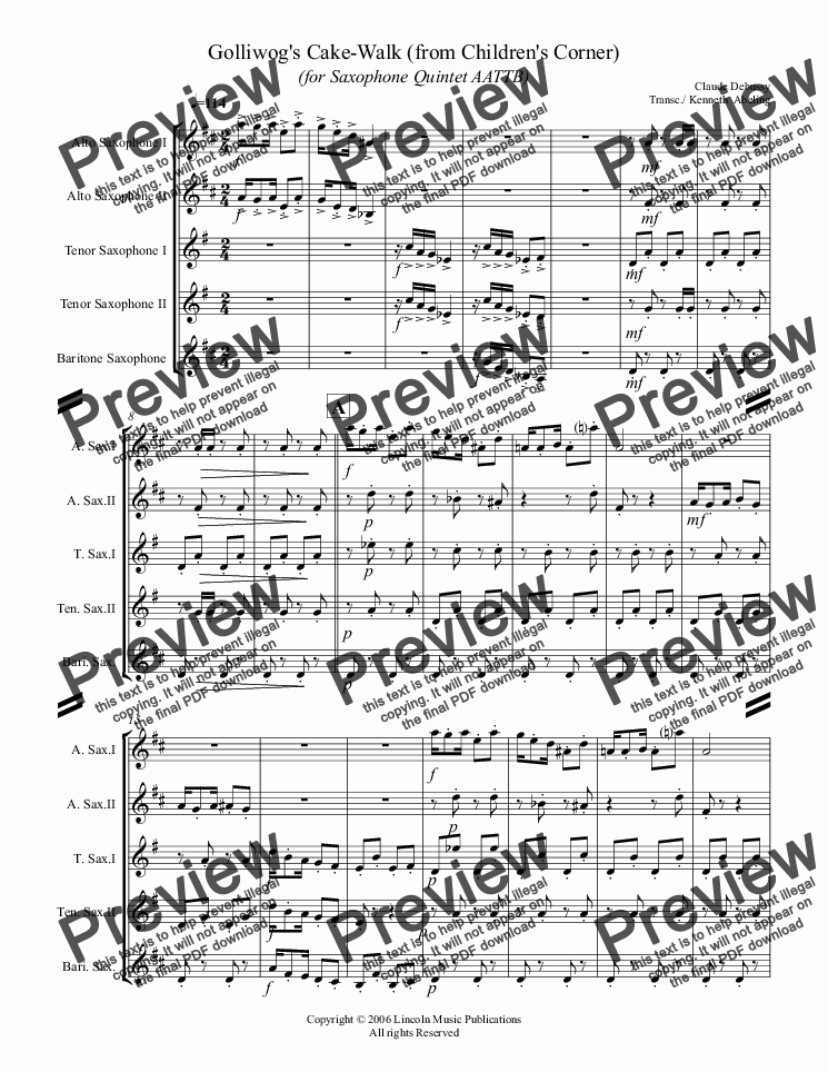 page one of Debussy - Golliwog's Cakewalk from Children's Corner (for Saxophone Quintet AATTB)