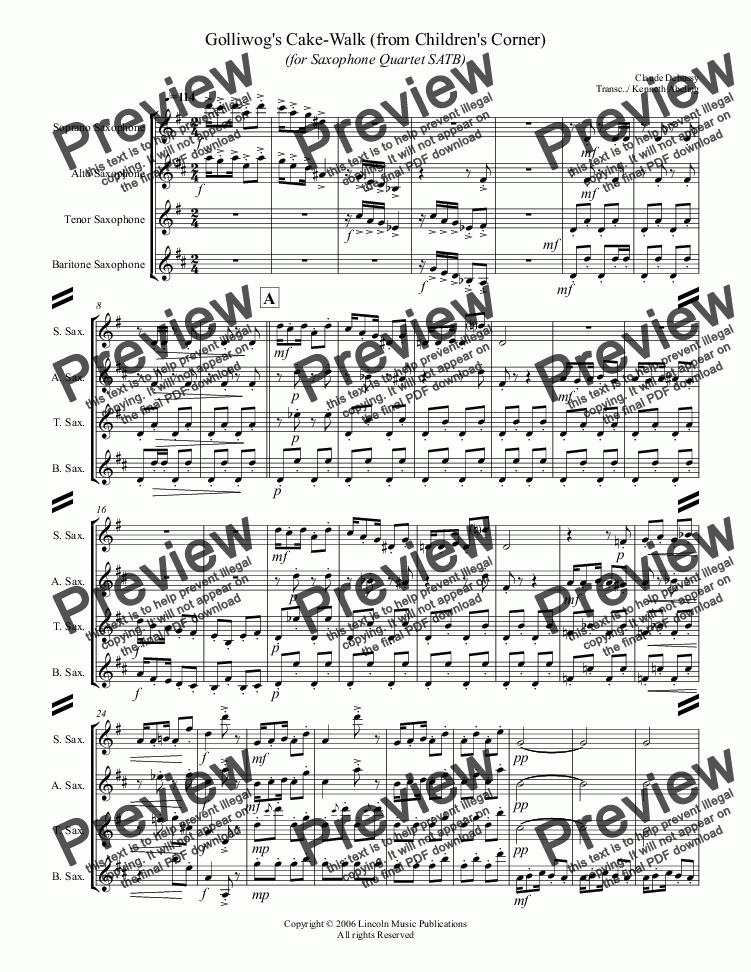 page one of Debussy - Golliwog's Cakewalk from Children's Corner (for Saxophone Quartet SATB)