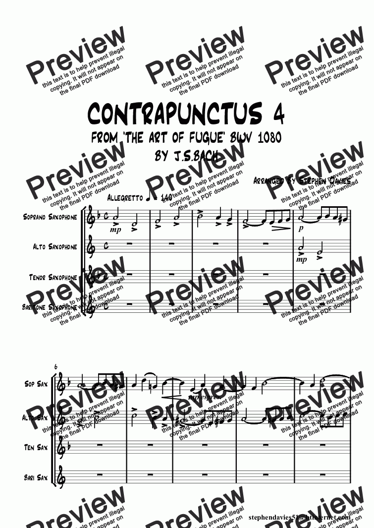 page one of Contrapunctus 4 from 'The Art of Fugue' bwv1080 By J.S.Bach (Sax Quartet)