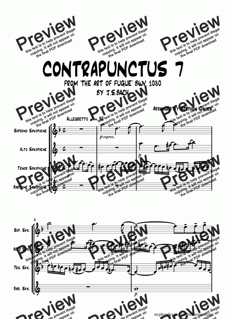 page one of Contrapunctus 7 from 'The Art of Fugue' bwv1080 By J.S.Bach (Sax Quartet)