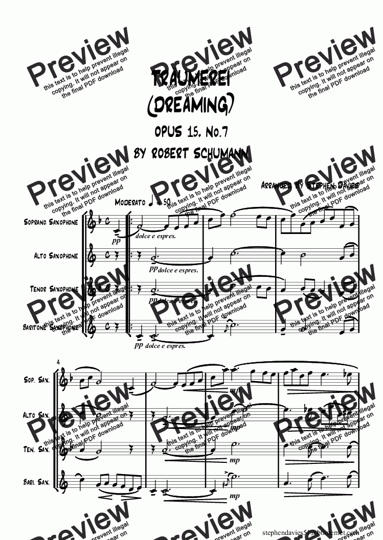 page one of Traumerei (Dreaming) Op.15/ No.7 by Schumann (Sax Quartet)ASALTTEXT