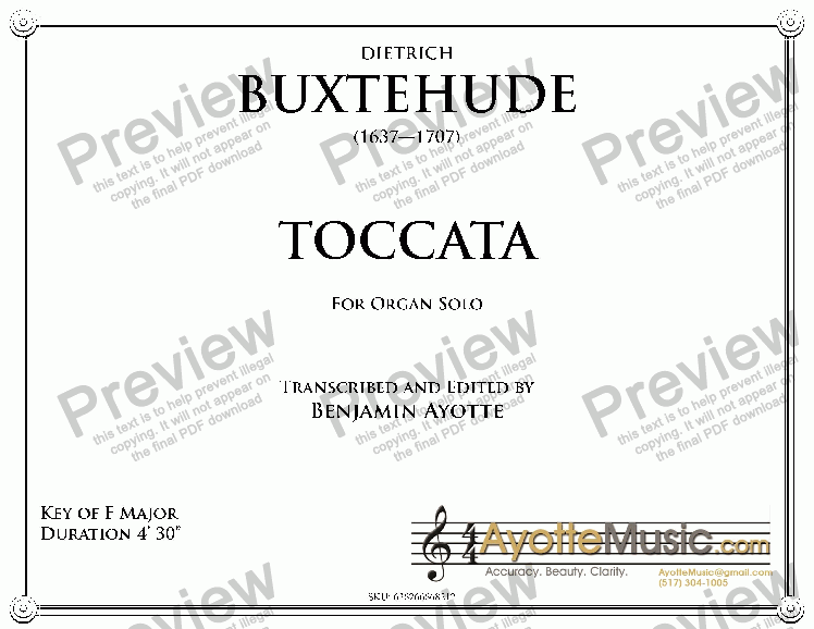 page one of Bustehude - Buxtehude Toccata 21 in F