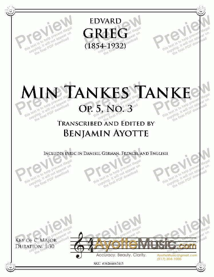 page one of Grieg - Min Tankes Tanke