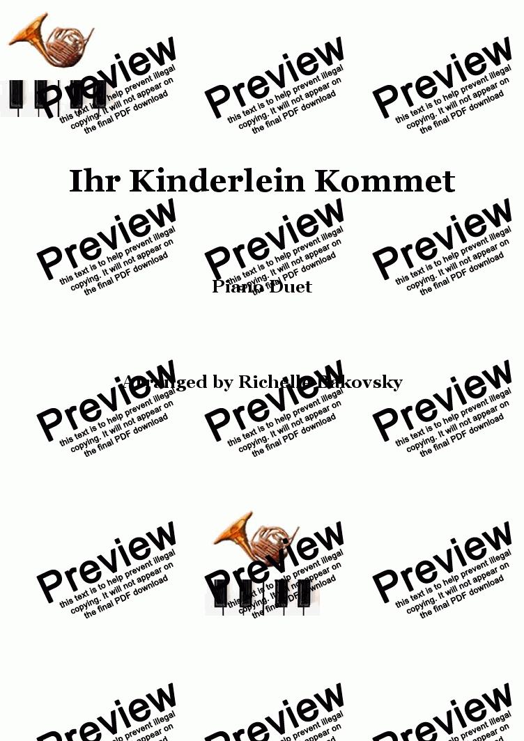 Ihr Kinderlein Kommet, German Christmas Carol - Sheet Music PDF file