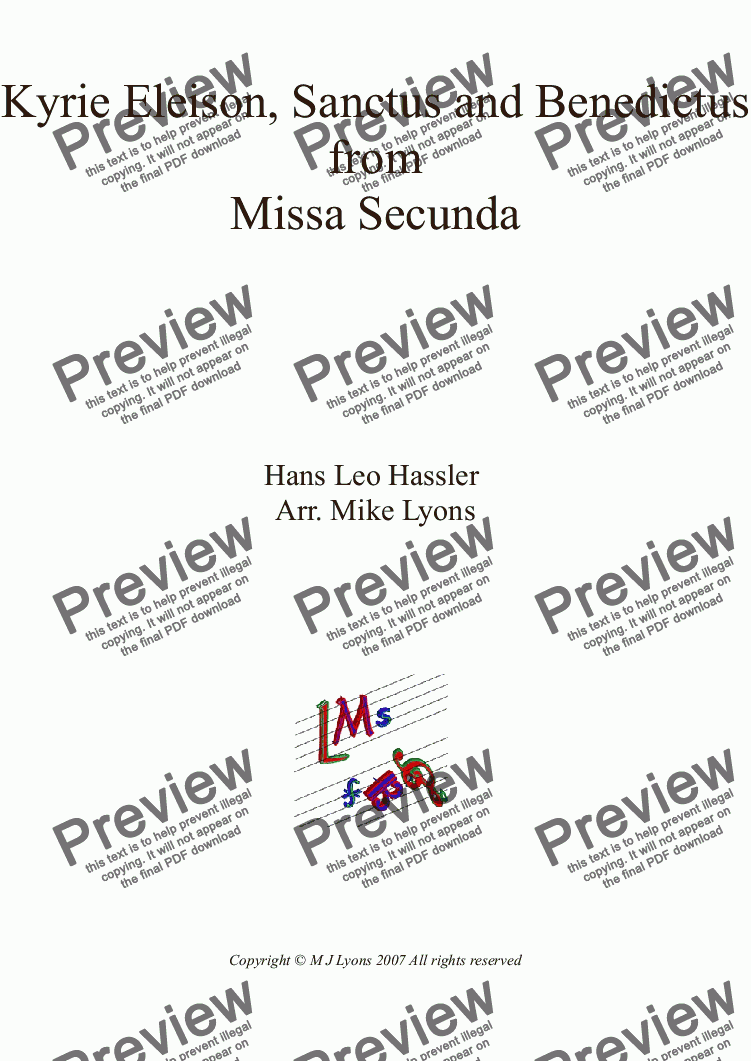 page one of Brass Quartet - Hans Leo Hassler - Kyrie and Sanctus from Missa Secunda