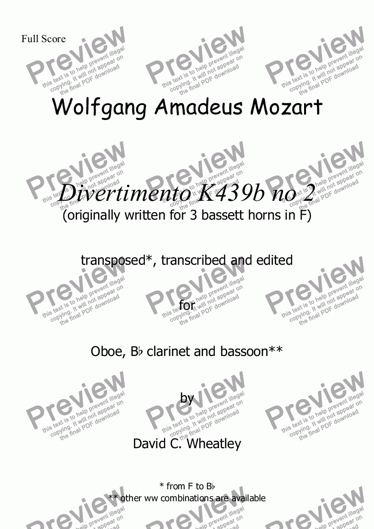 page one of Mozart - Divertimento K439b no 2 for oboe clarinet and bassoon transcribed by David Wheatley