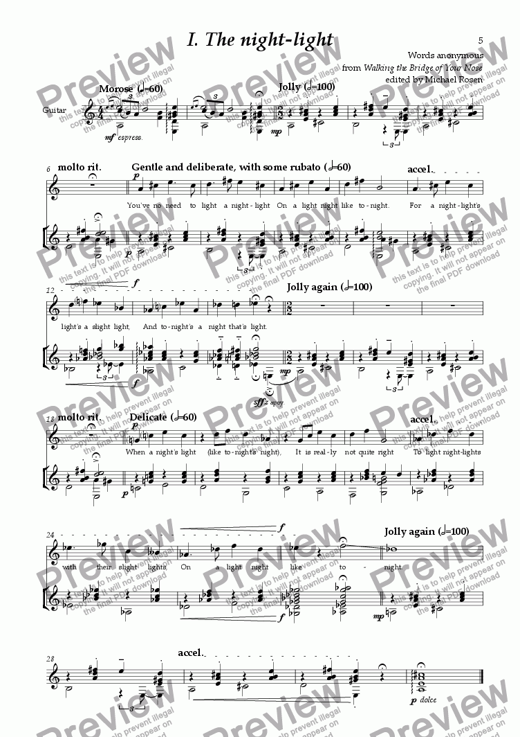 page one of Rather Silly Songs