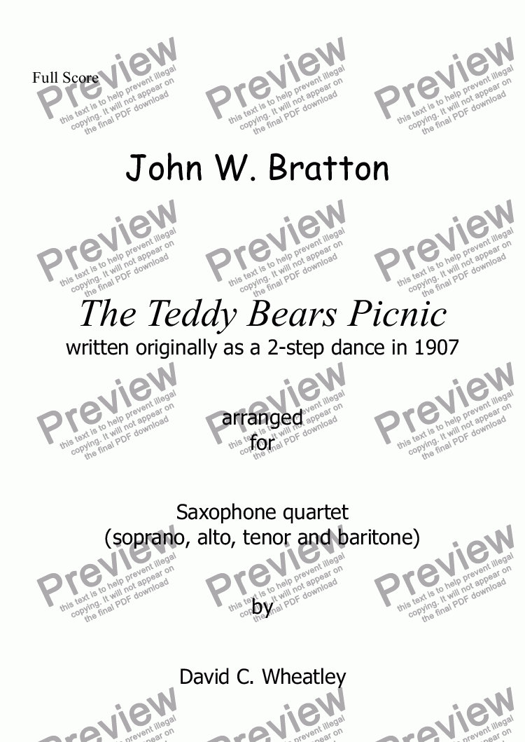 page one of Teddy Bears Picnic arranged for saxophone quartet by David Wheatley