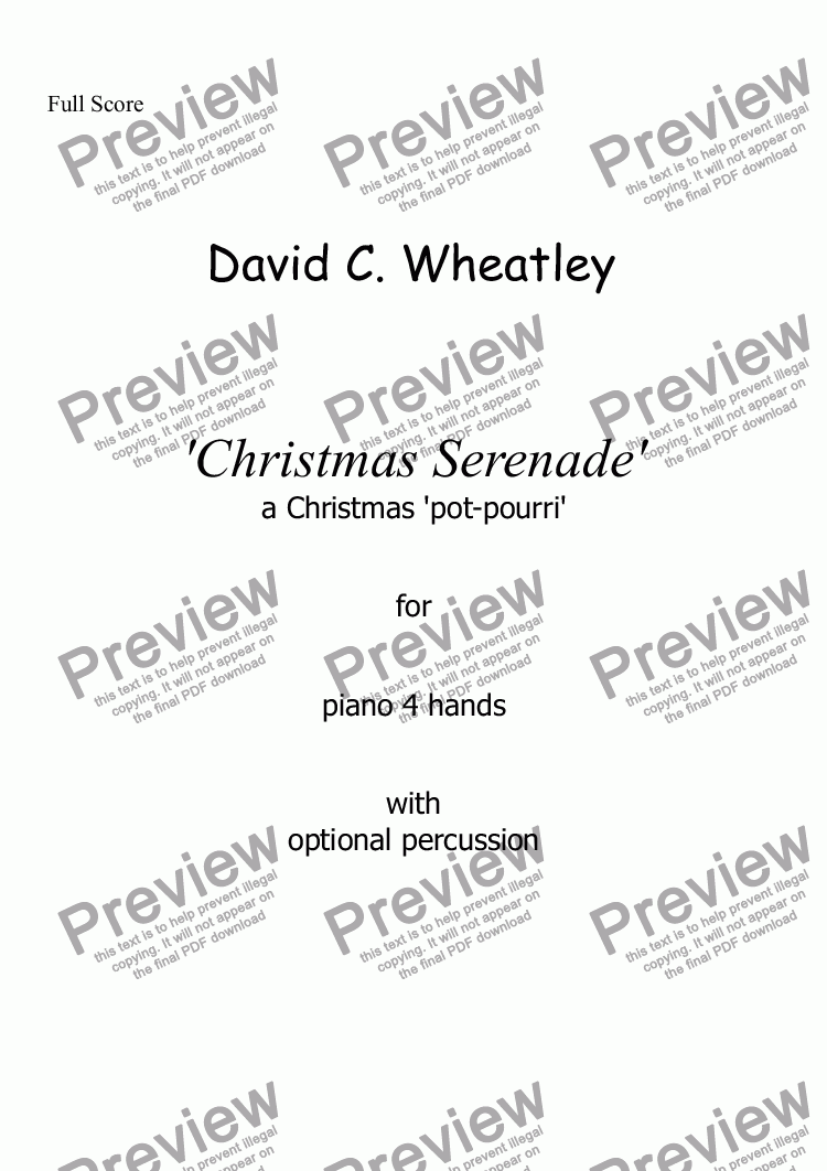 page one of Christmas Serenade by David Wheatley for piano 4 hands
