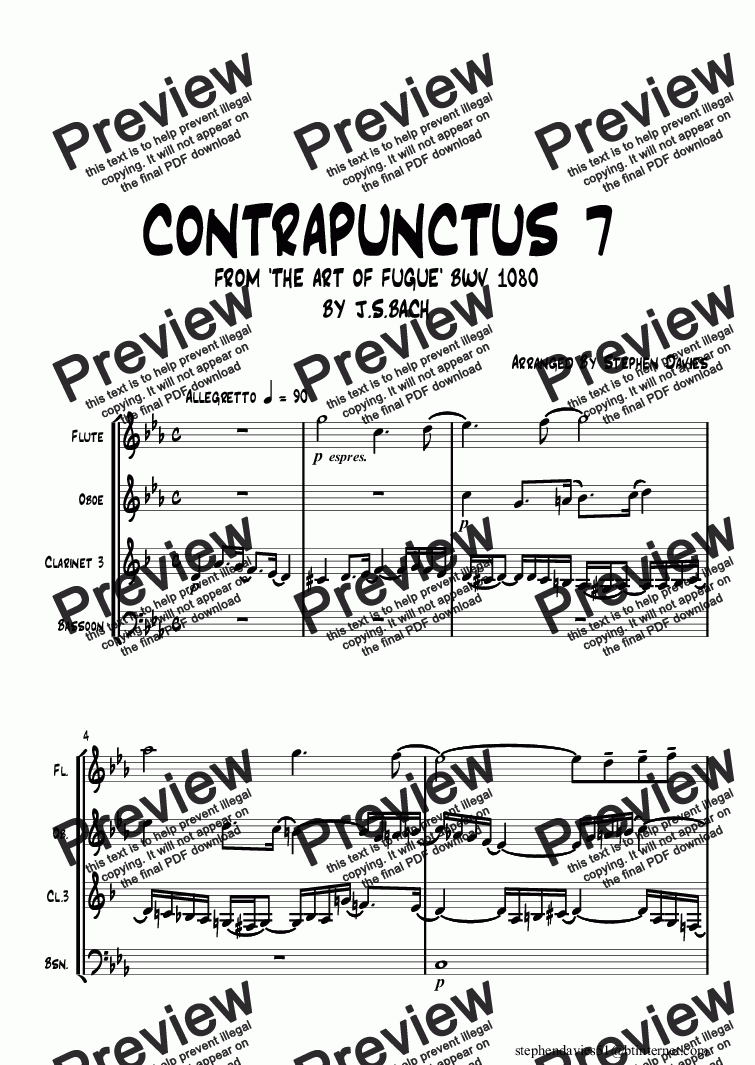 page one of Contrapunctus 7 from 'The Art of Fugue' bwv1080 By J.S.Bach Wind Quartet (Flute/Oboe/ Clarinet/Bassoon)