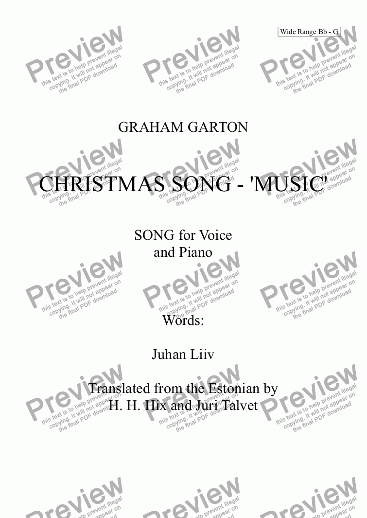 page one of Christmas Music for 2018 Words by JUHAN LIIV  Translated from the Estonian by H.L. Hix and Juri Talvet