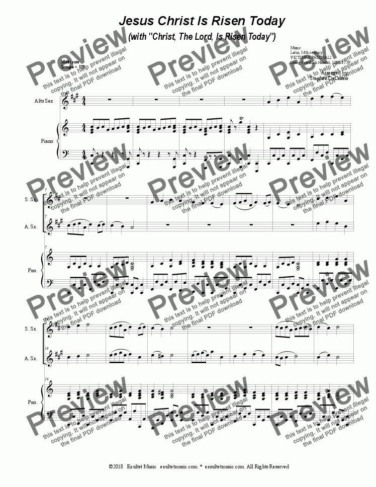 "page one of Jesus Christ Is Risen Today (with ""Christ, The Lord, Is Risen Today"") (Duet for Soprano & Alto Saxophone)"
