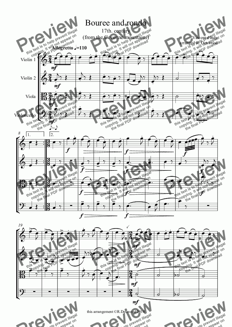 page one of d'Indy - Bouree and rondo for string quartet