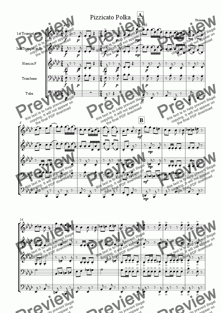 page one of Pizzicato Polka