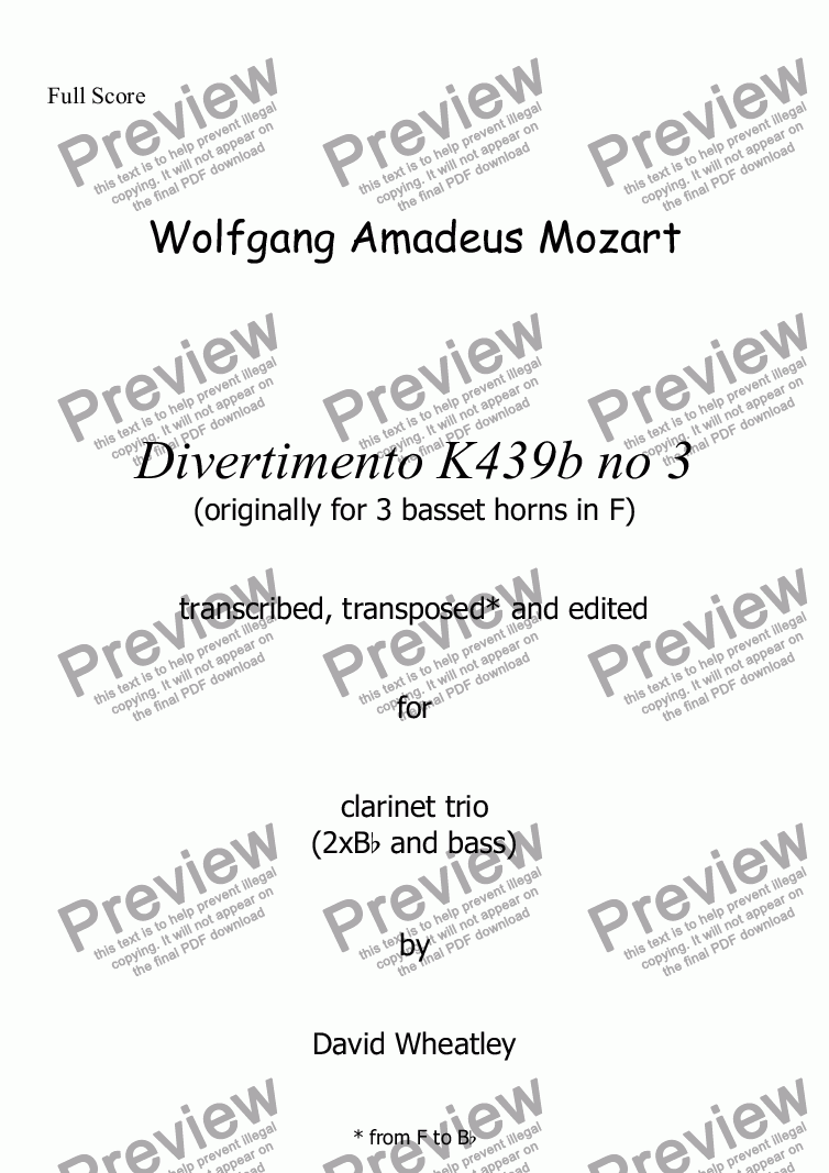 page one of Mozart - Divertimento K439b no 3 for clarinet trio (2xBb + bass) transcribed by David Wheatley
