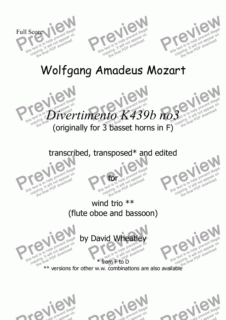 page one of Mozart - Divertimento K439b no 3 for flute oboe and bassoon transcribed by David Wheatley