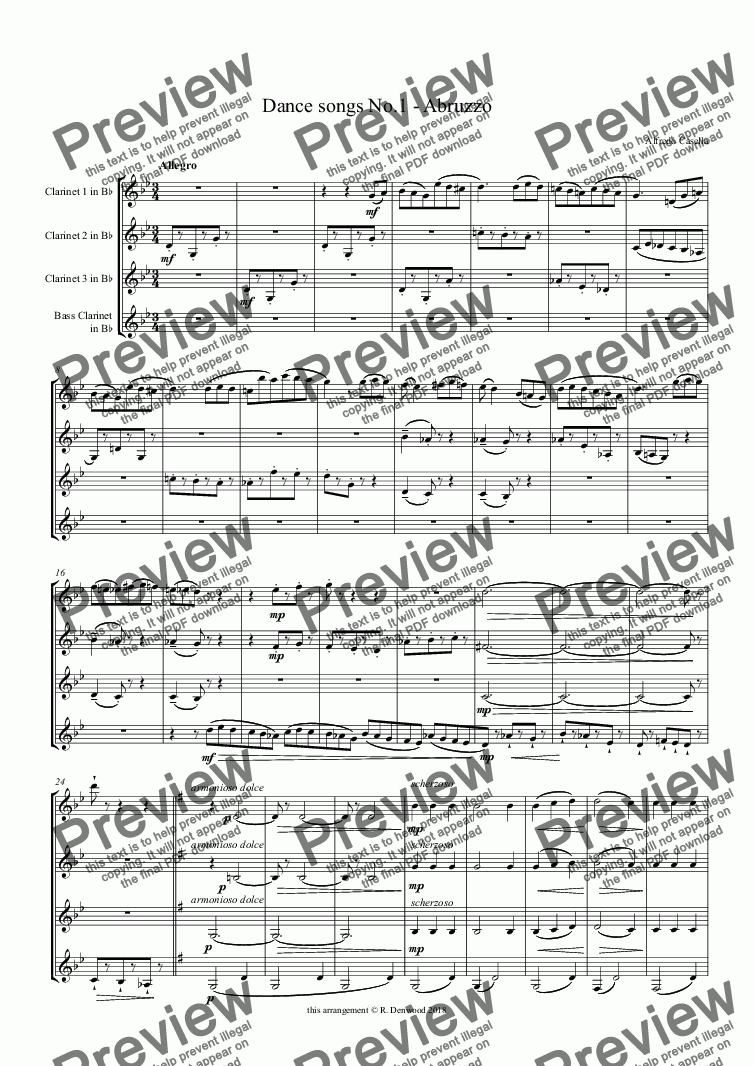page one of Casella - Dance songs No.1 for Clarinet quartet (3 Bb & Bass)