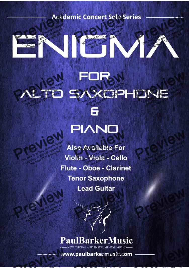 page one of Enigma (Alto Saxophone & Piano)