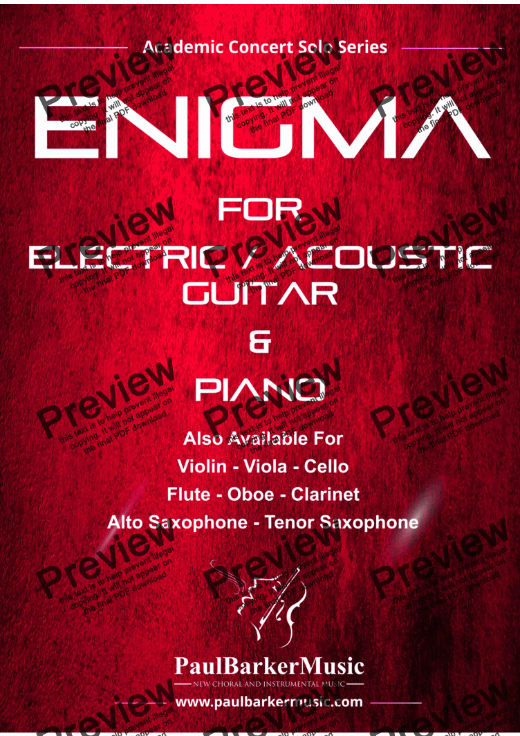 page one of Enigma  (Electric Guitar & Piano)