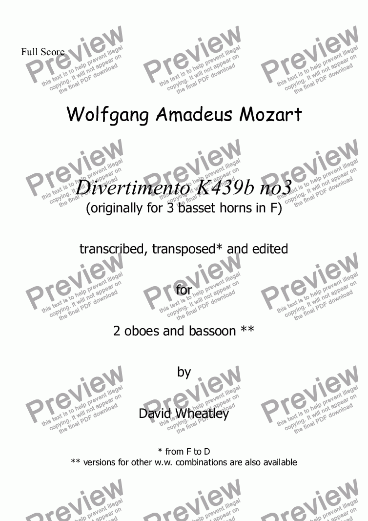 page one of Mozart - Divertimento K439b no 3 for 2 oboes and bassoon transcribed by David Wheatley