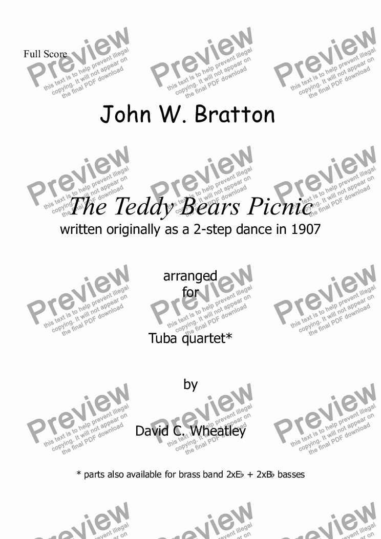 page one of Teddy Bears Picnic for tuba quartet
