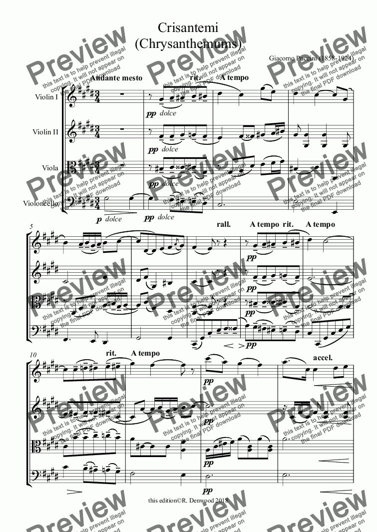 page one of Puccini - Crisantemi (Chrysanthemums) for string quartet (original instrumentation in new edition)