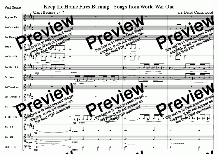 page one of Keep the Home Fires Burning - Songs from World War One arranged for Brass Band