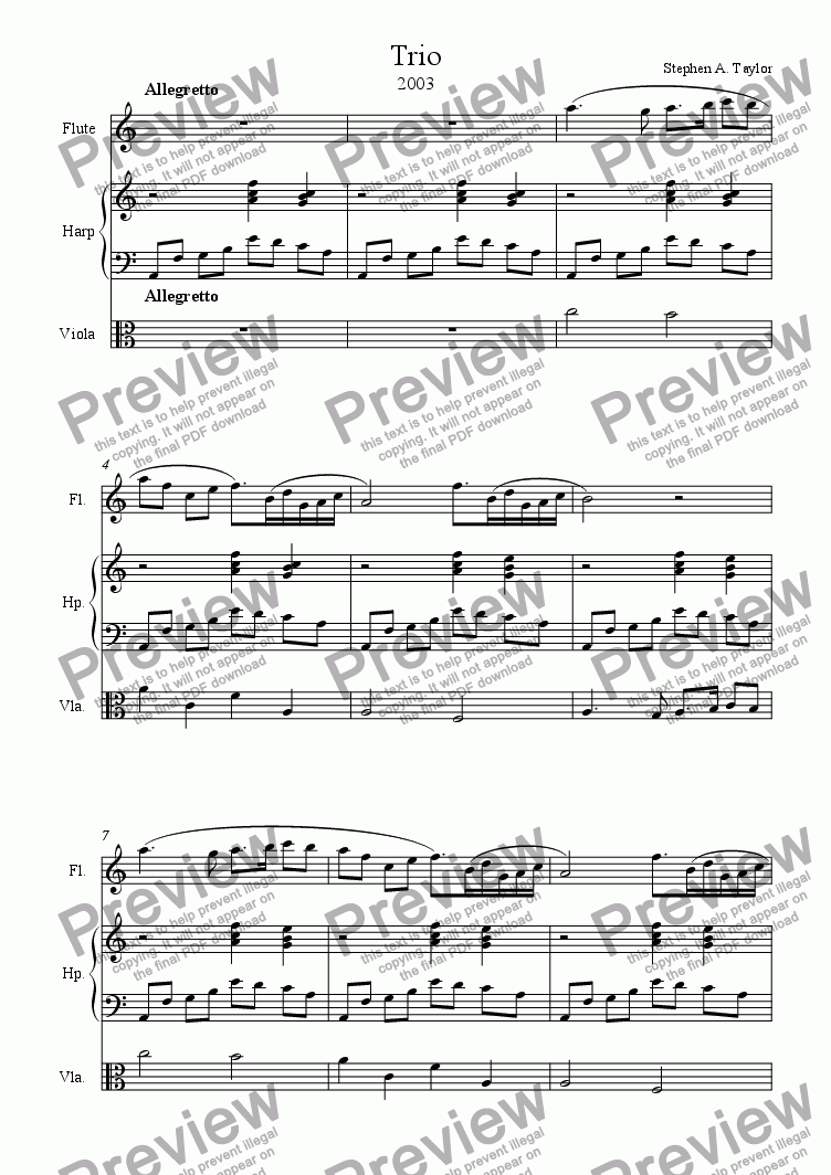 page one of Trio for Flute, Viola and Harp