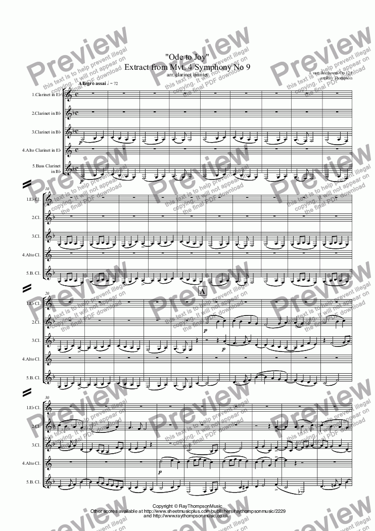 "page one of Beethoven: ""Ode to Joy"" Extract from Mvt.IV Symphony No 9 Op.125 - clarinet quintet"