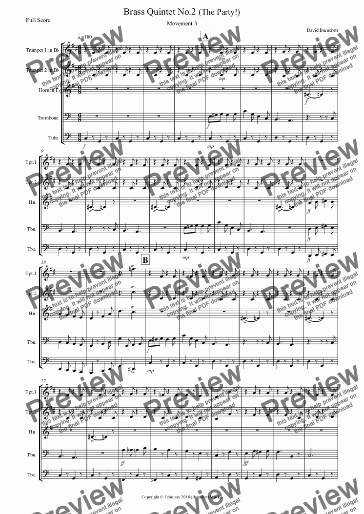 page one of Brass Quintet No.2 Op.3 (The Party!) Movement 3